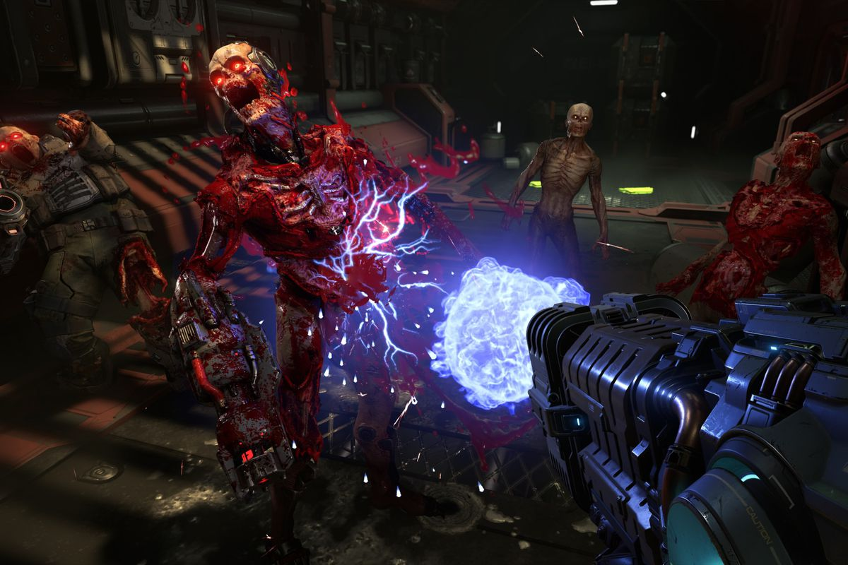 Demon's get blown up in a screenshot from Doom Eternal