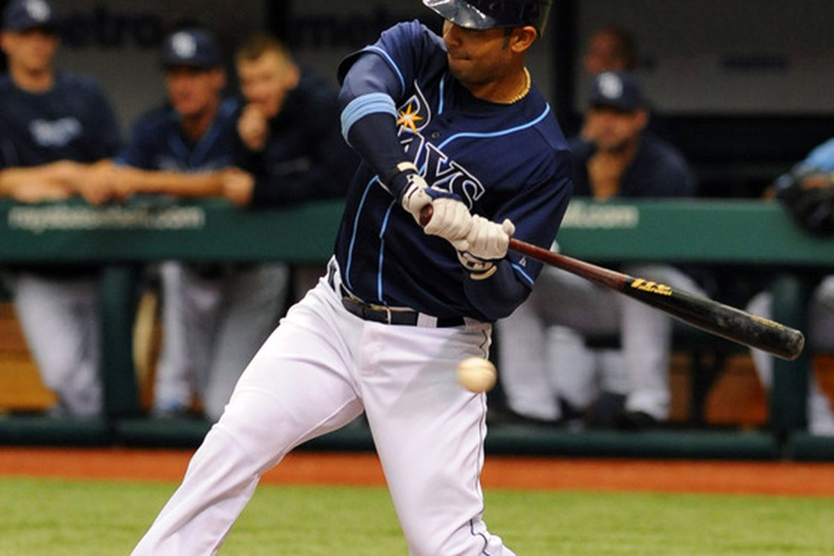 ST. PETERSBURG, FL - MAY 3: Infielder Carlos Pena #23 of the Tampa Bay Rays bats against the Seattle Mariners May 3, 2012 at Tropicana Field in St. Petersburg, Florida.  (Photo by Al Messerschmidt/Getty Images)