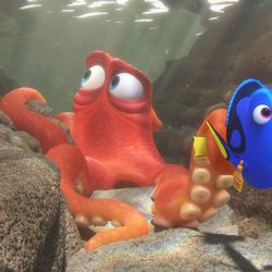 When Dory (voice of Ellen DeGeneres) finds herself in the Marine Life Institute, a rehabilitation center and aquarium, Hank (voice of Ed O'Neill) — a cantankerous octopus — is the first to greet her.