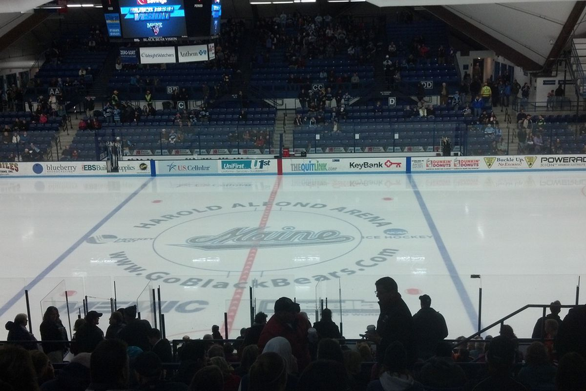 A view from the press box at Alfond Arena