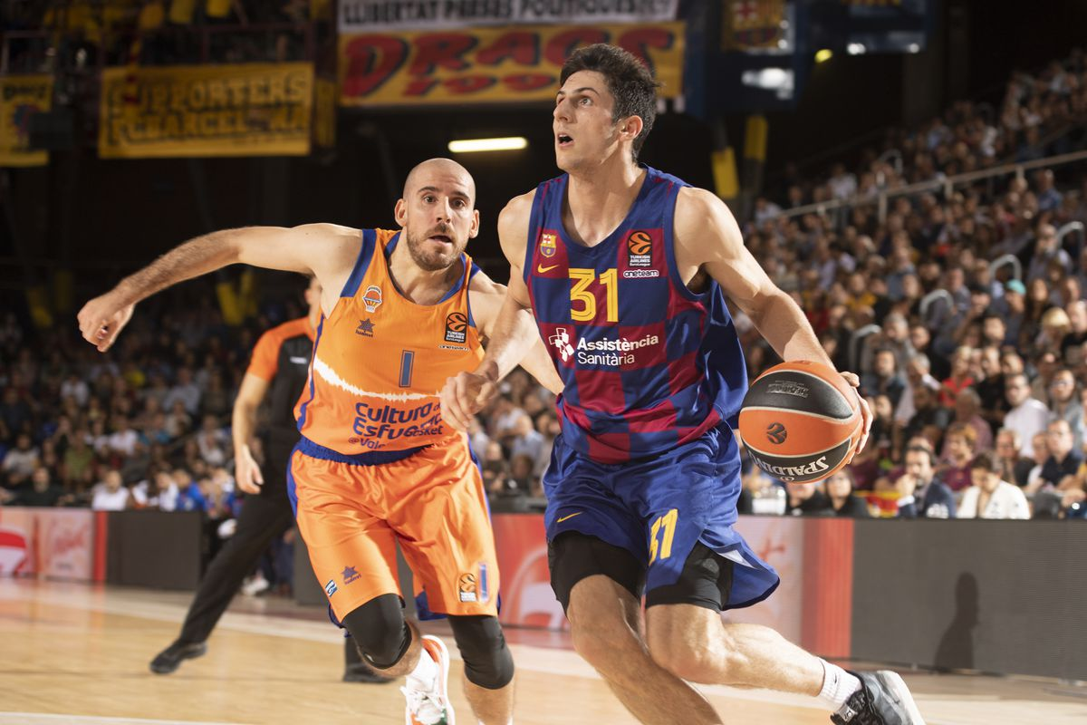 Leandro Bolmaro, of FC Barcelona in action during the 2019/2020 Turkish Airlines EuroLeague Regular Season Round 5 match between FC Barcelona and Valencia Basket at Palau Blaugrana on October 30, 2019 in Barcelona, Spain.