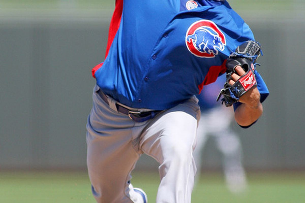Surprise, AZ, USA; Chicago Cubs starting pitcher Matt Garza pitches during the second inning against the Texas Rangers at Surprise Stadium.  Mandatory Credit: Jake Roth-US PRESSWIRE