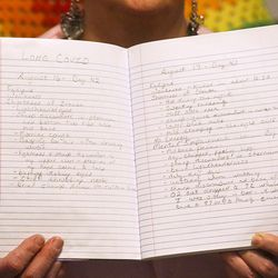 Lisa Knapp exhibits a journal the place she tracks her COVD-19 signs at dwelling in Provo on Monday, Nov. 23, 2020, the 141st day since her signs began. Knapp is a <a href=