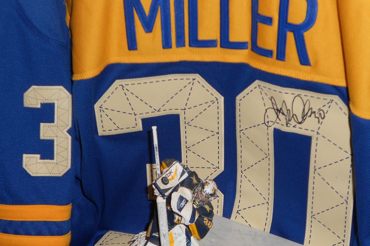 Memorabilia: signed Ryan Miller Buffalo Sabres jersey with signed figure