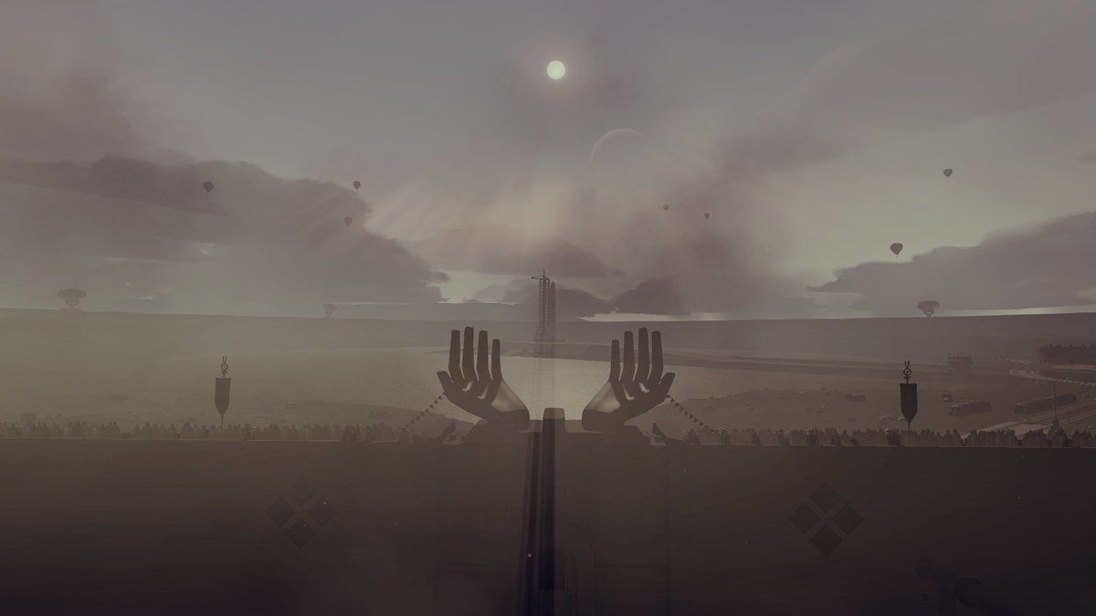 Jett: The Far Shore - a giant statue of human hands is set against an ashen sky. Thousands of people are gathered to watch the launch from the walls.