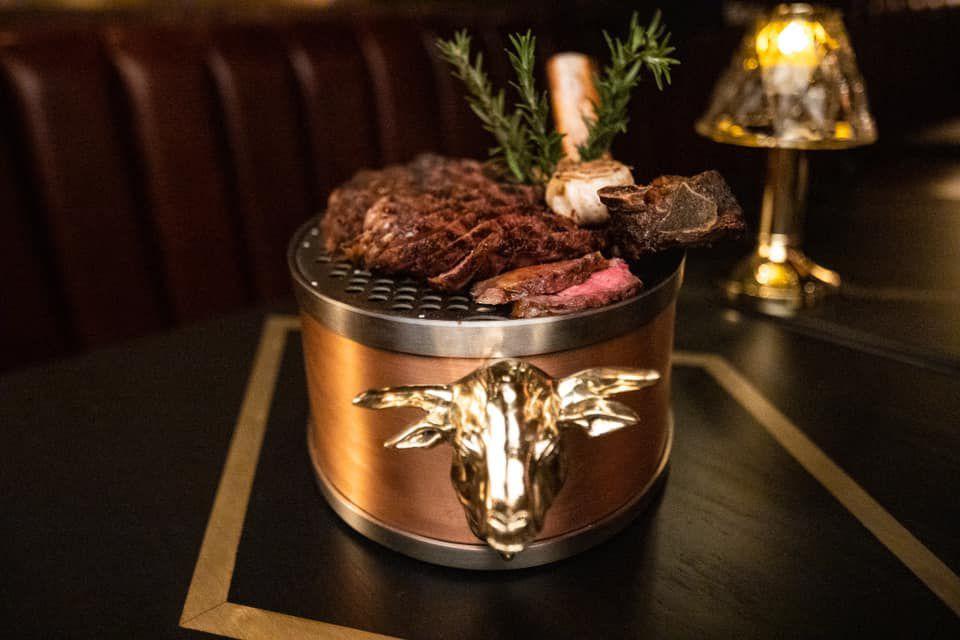A table-side steak