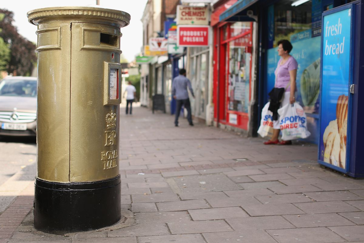 Postboxes Painted In The Towns Of Great Britain's Gold Medal Winners