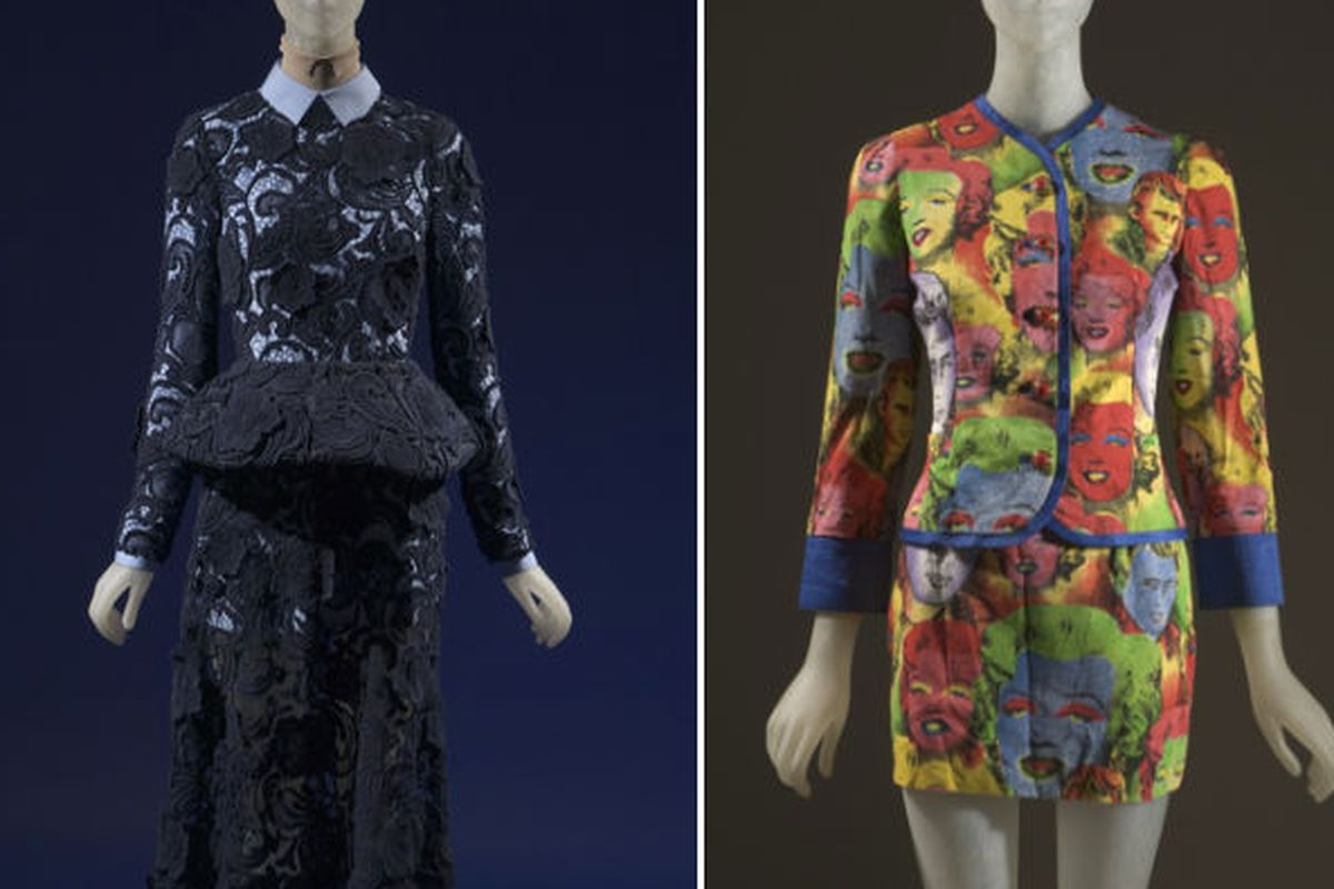 """Pieces from Prada (2011) and Gianni Versace (1991); images via <a href=""""http://www.wwd.com/eye/design/fit-celebrates-great-designer-moments-5399489"""">WWD</a>"""