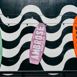 """<b>↑</b> Everything you need to catch some serious waves (or at least look like you're going to) is at <a href=""""http://summerhousenyc.tumblr.com/"""">Summer House Urban Surf Collective</a></b> (Fulton Street between Front Street and South Street). The pop-up"""