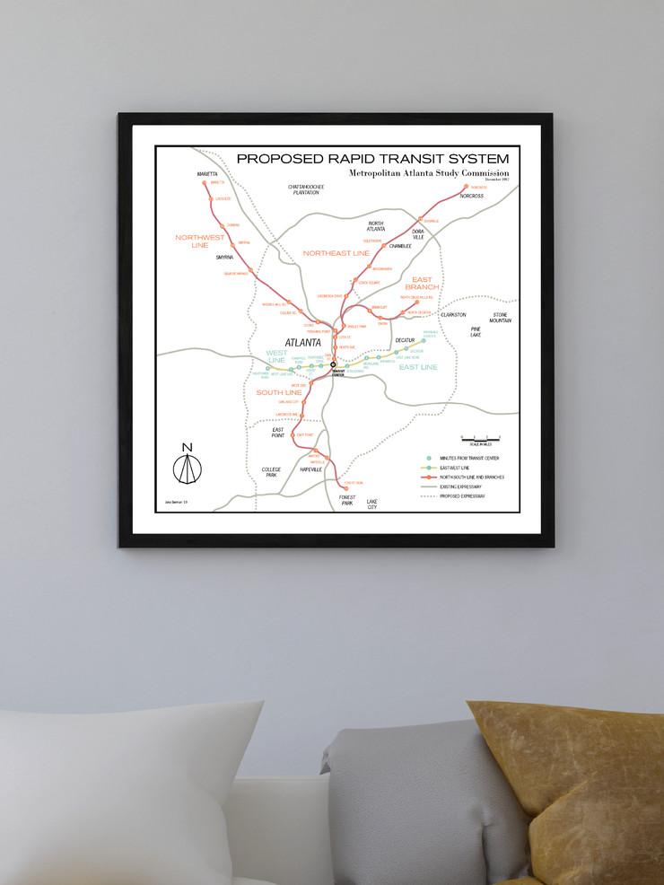 Dc Subway Map Pillow.Artist S Wall Art Depicts Marta Atlanta Subway System That Could