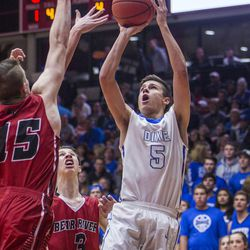 Dixie's Tyler Bennett goes up for a shot during the game against Bear River in Friday's 3A semifinal matchup at the SUU Centrum, Feb. 26, 2016.