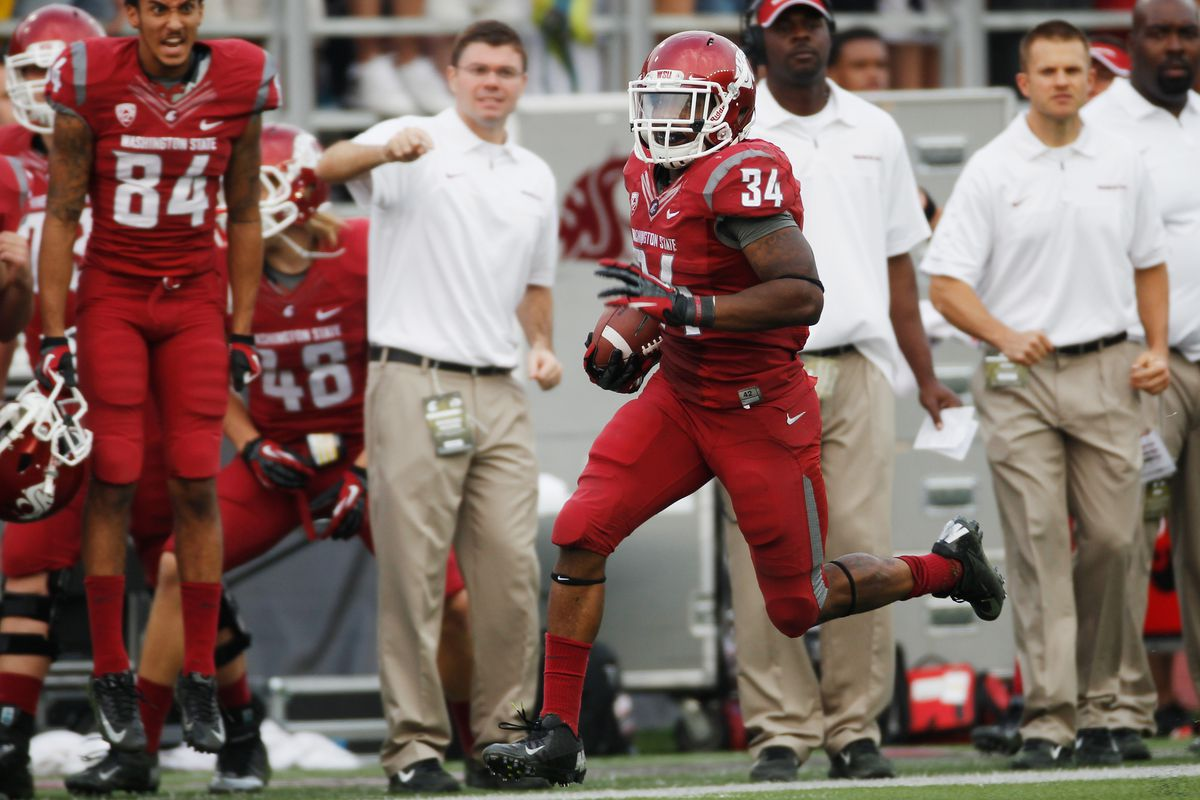 PULLMAN, WA - SEPTEMBER 22: Teondray Caldwell #34 of the Washington State Cougars makes a 56 yard return during the 4th quarter against the Colorado Buffaloes at Martin Stadium on September 22, 2012 in Pullman, Washington.