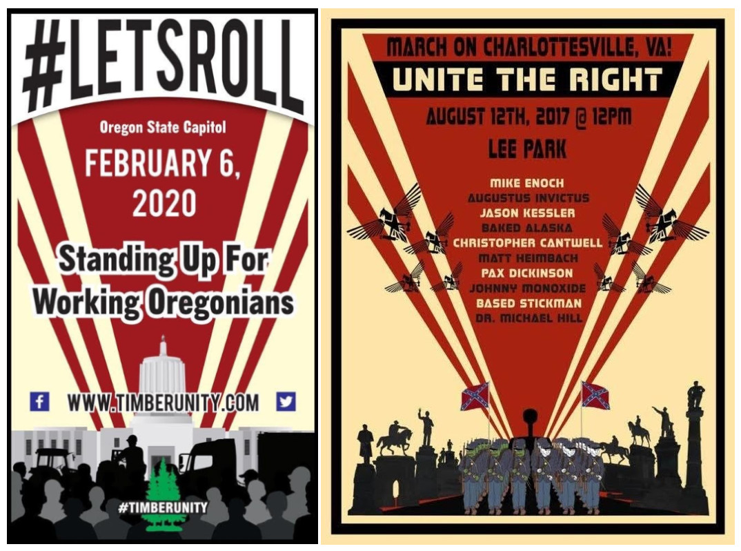 TimberUnity poster on the left; Unite the Right poster on the right.
