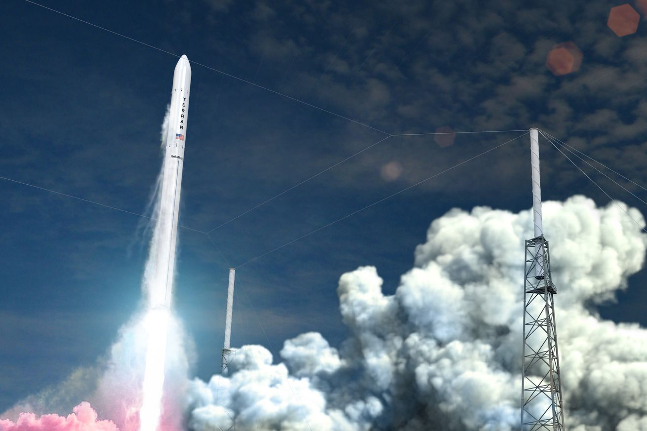 <em>A rendering of what Relativity Space's rocket will look like, launching from LC-16.</em>