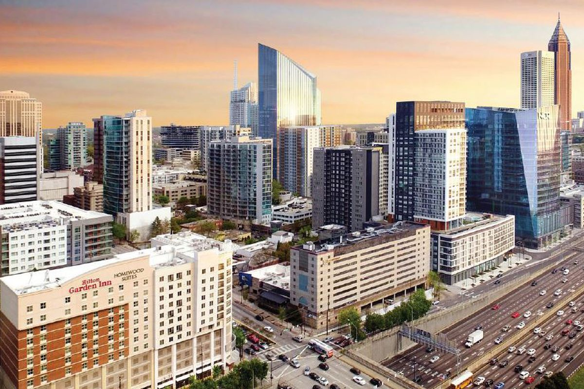 A rendering of a knife-like tower proposed for Midtown Atlanta.