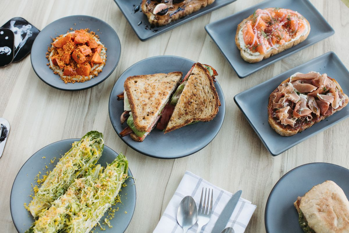 sandwiches, salads, tartines and knife and fork at the landing kitchen in bala cynwyd