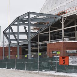 A view showing the height of the grandstand addition, in left field