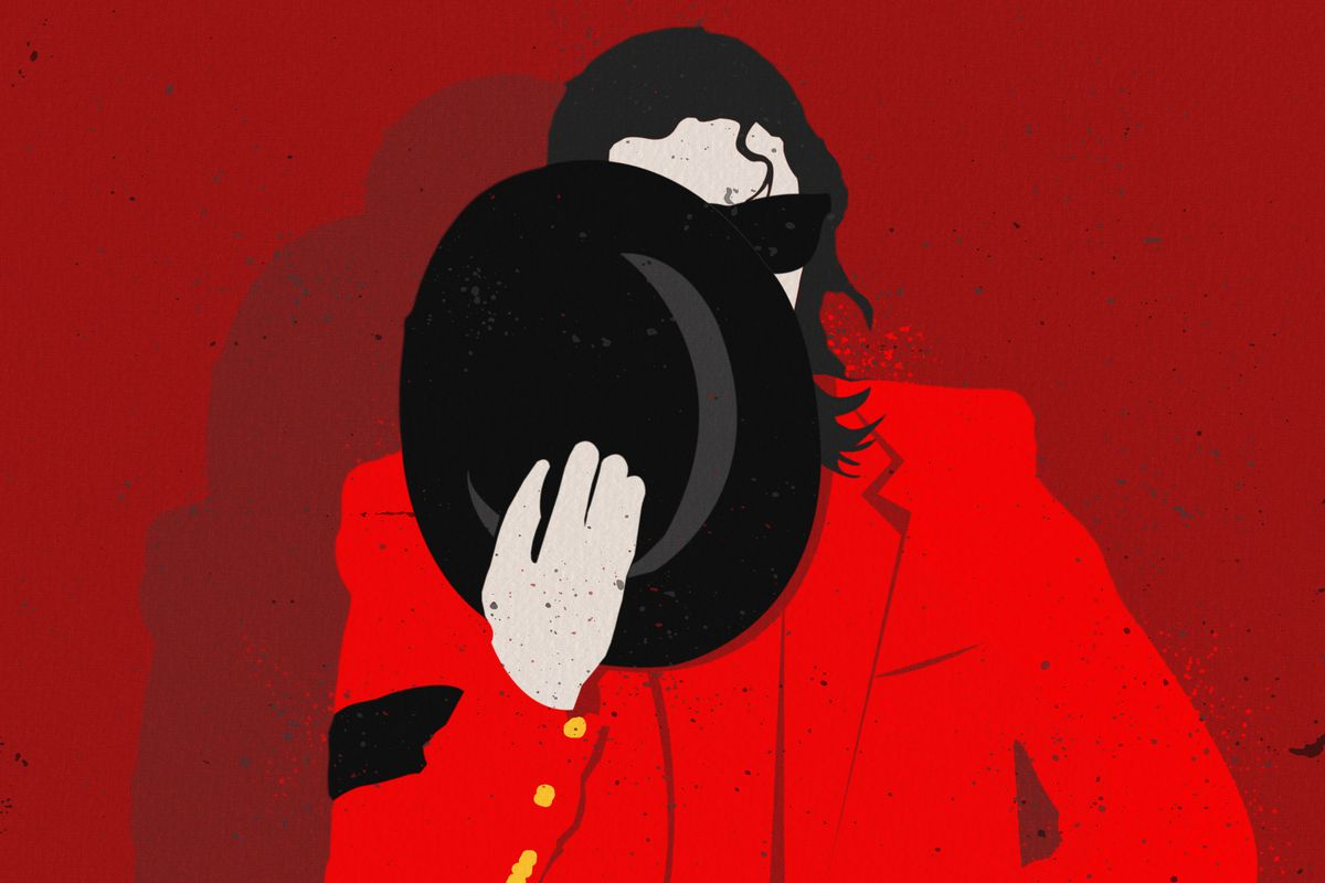 Illustration of Michael Jackson covering his face with a hat