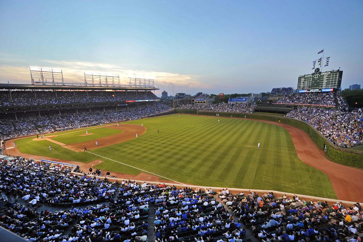 Chicago, IL, USA; A general view of Wrigley Field during the game between the Chicago Cubs and the Chicago White Sox at Wrigley Field.  Credit: Rob Grabowski-US PRESSWIRE