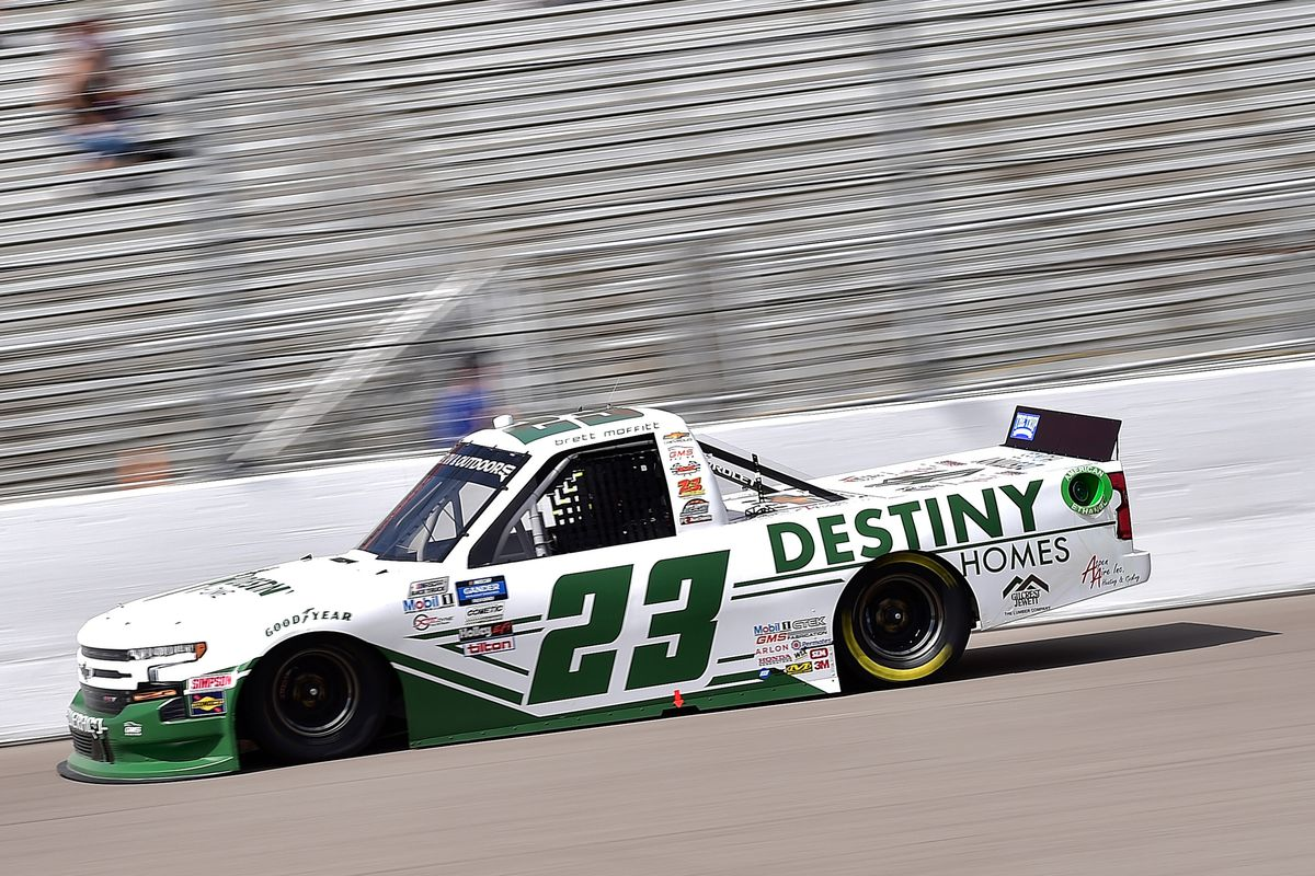 Brett Moffitt, driver of the #23 Destiny Homes Chevrolet, drives during the NASCAR Gander Outdoors Truck Series CarShield 200 Presented by CK Power on August 30, 2020 in Madison, Illinois.
