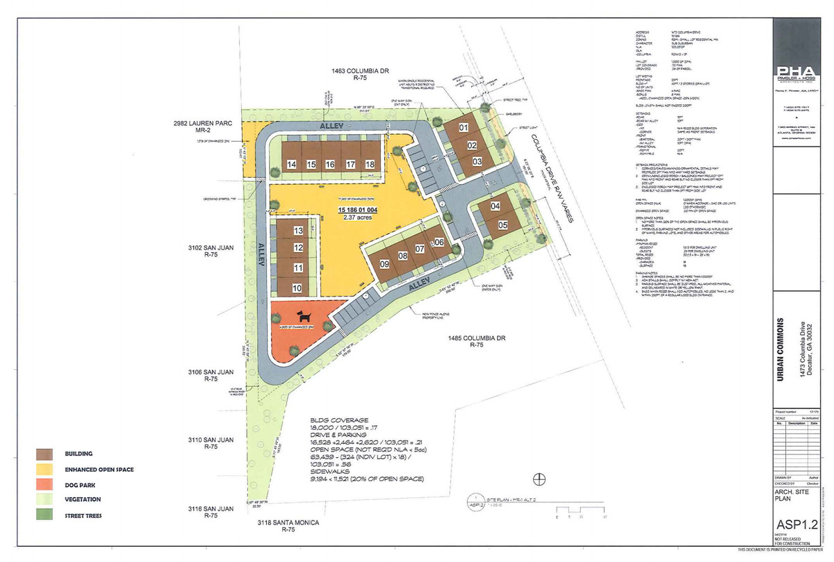 An overview blueprint for the proposed residential community.