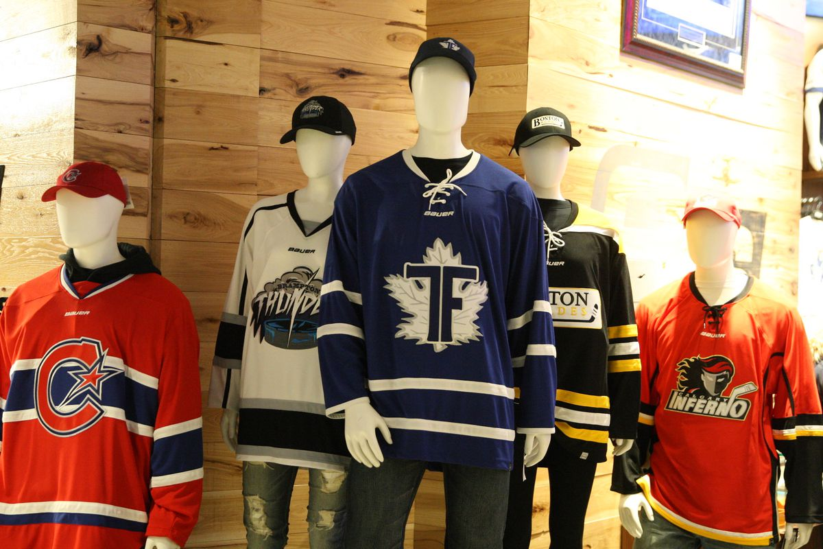 CWHL jerseys on display at RealSports in Toronto