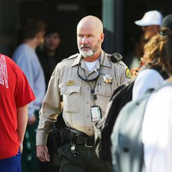 Parents arrive at Mountain View High School in Orem to pick up their children after five students were stabbed in an apparent attack by a 16-year-old boy on Tuesday, Nov. 15, 2016.