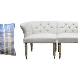 Tie Dye Velvet Pillow, <b>$29</b> (from $48); Twin Corner Chairs, <b>$399 each</b> (from $695 each)