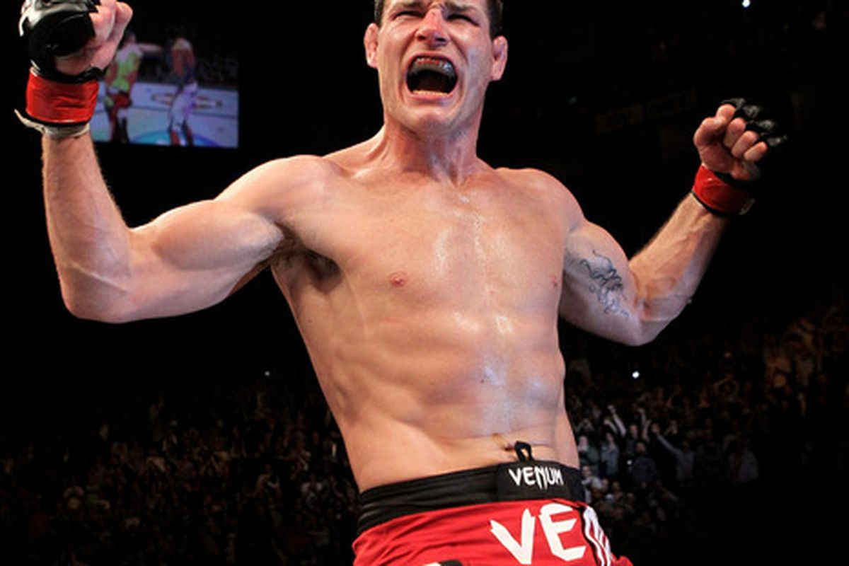 LONDON ENGLAND:  Michael Bisping of Great Britain celebrates victory against Yoshihiro Akiyama of Japan during their UFC middleweight bout at the O2 Arena in London England.  (Photo by Josh Hedges/Zuffa LLC/Zuffa LLC via Getty Images)