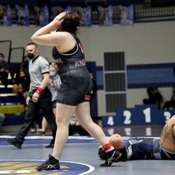 Karla Padilla Zepeda Northridge, shows her emotion as she defeats Lusimoni Vakalahi Copper Hills, for the 245 class of the 6A State Wrestling championship at West Lake High in Saratoga Springs on Monday, Feb. 15, 2021. Padilla Zepda won.