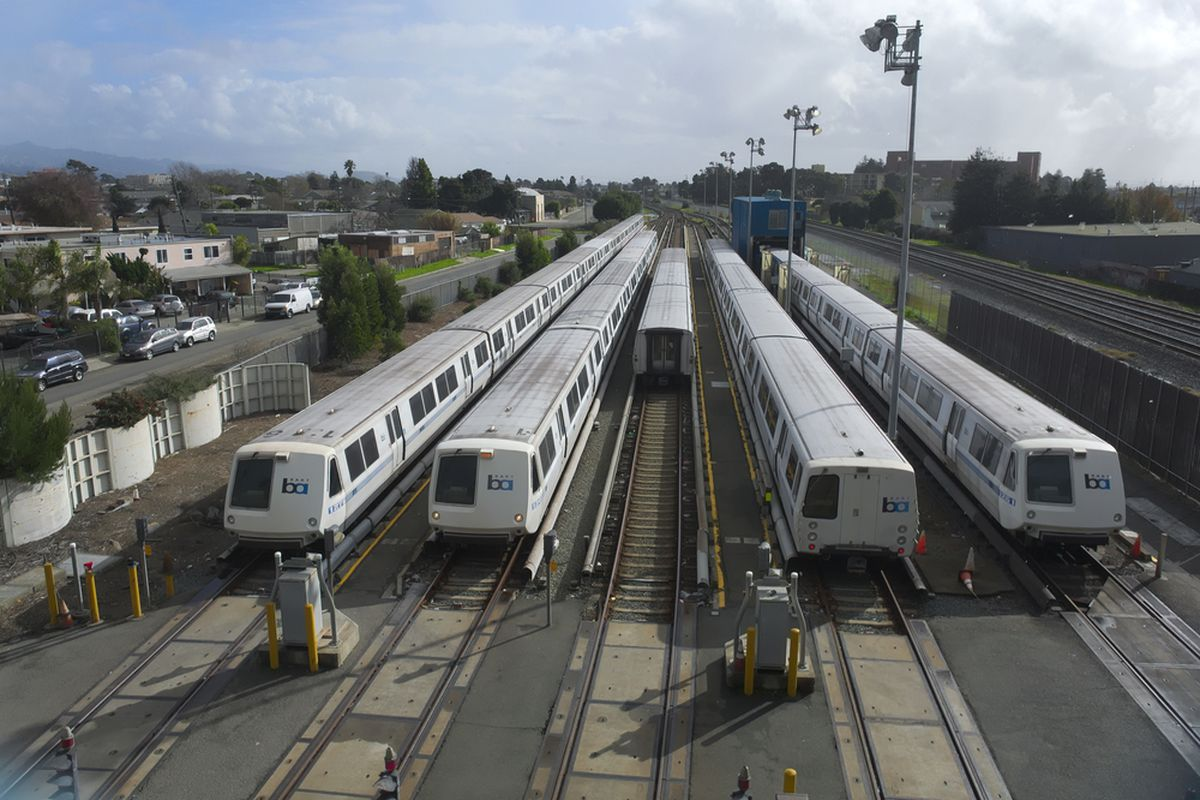 BART train cars lined up.