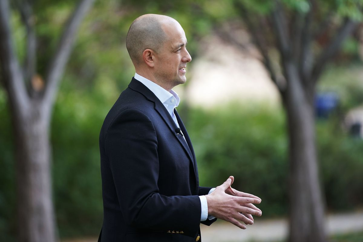 Evan McMullin talks about his campaign to challenge Mike Lee as an independent candidate for U.S. Senate in Salt Lake City on Tuesday, Oct. 5, 2021.