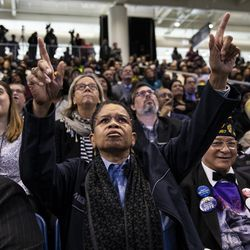 Thousands of people listen as Mayor Lori Lightfoot makes her inaugural address during the city of Chicago's inauguration ceremony at Wintrust Arena, Monday morning, May 20, 2019.