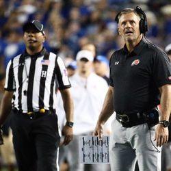 Utah head football coach Kyle Whittingham reacts to Sunia Tauteoli's ejection.