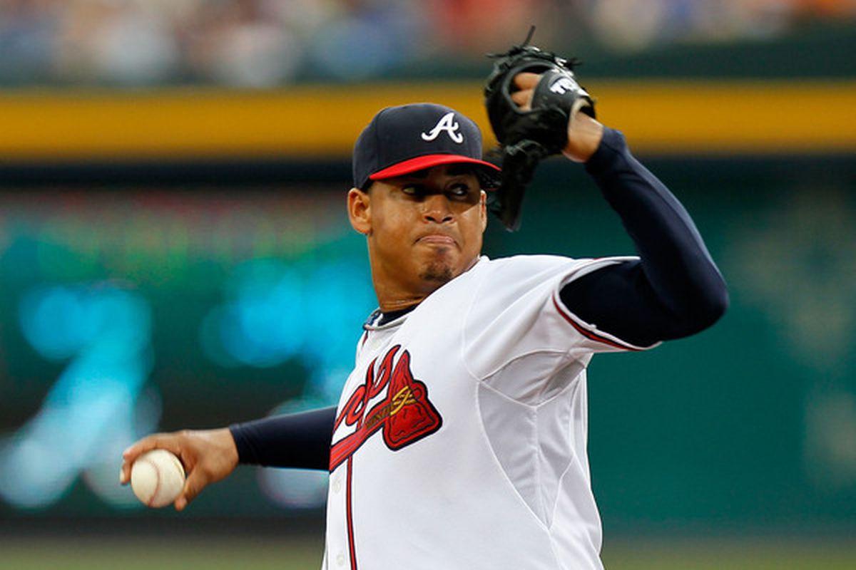 ATLANTA - JUNE 30:  Starting pitcher Jair Jurrjens #49 of the Atlanta Braves pitches to the Washington Nationals at Turner Field on June 30