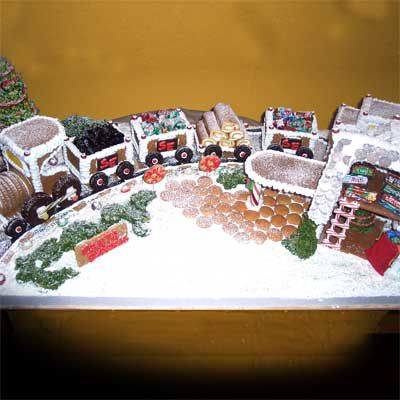 Gingerbread train and tracks.