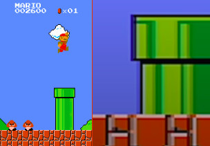 The original Super Mario Bros. on the left, compared to the Game and Watch version on the right.