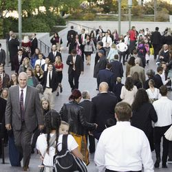 Conferencegoers enter the Conference Center for the Sunday morning session of the 189th Semiannual General Conference of The Church of Jesus Christ of Latter-day Saints in Salt Lake City on Sunday, Oct. 6, 2019.