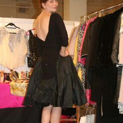 Heather Petrey in the debutante clothing booth