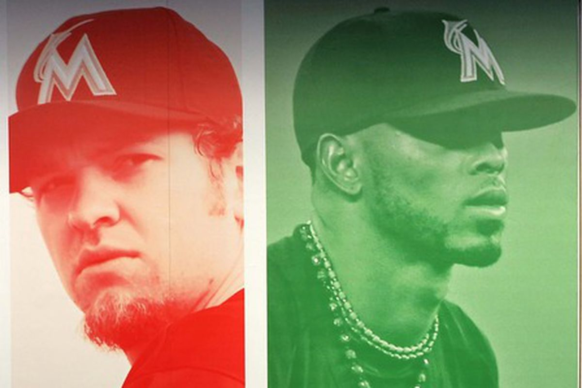 Josh Johnson and Jose Reyes from a 2012 Marlins promotional poster.