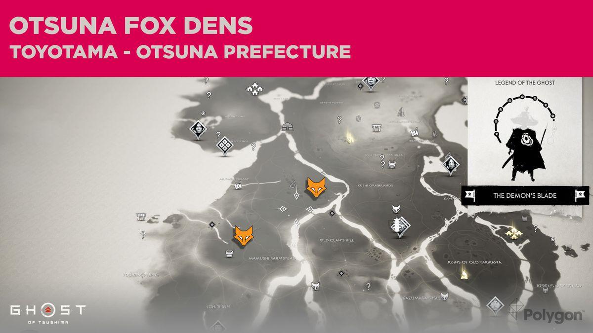 Fox Den locations in Otsuna in Ghost of Tsushima