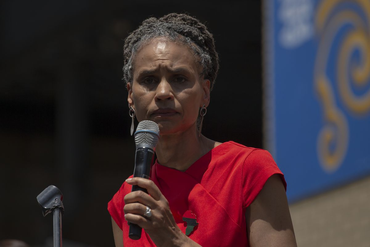 New York City mayoral candidate Maya Wiley speaks at the unveiling of a mural in Chinatown on June 20, 2021 in New York City. Kathryn Garcia and Andrew Yang also attended the event in the lead-up to primary Election Day on June 22.