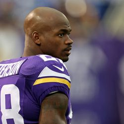 Aug 9, 2013; Minneapolis, MN, USA; Minnesota Vikings running back Adrian Peterson (28) looks on during pre game before a game against the Houston Texans at the Metrodome.