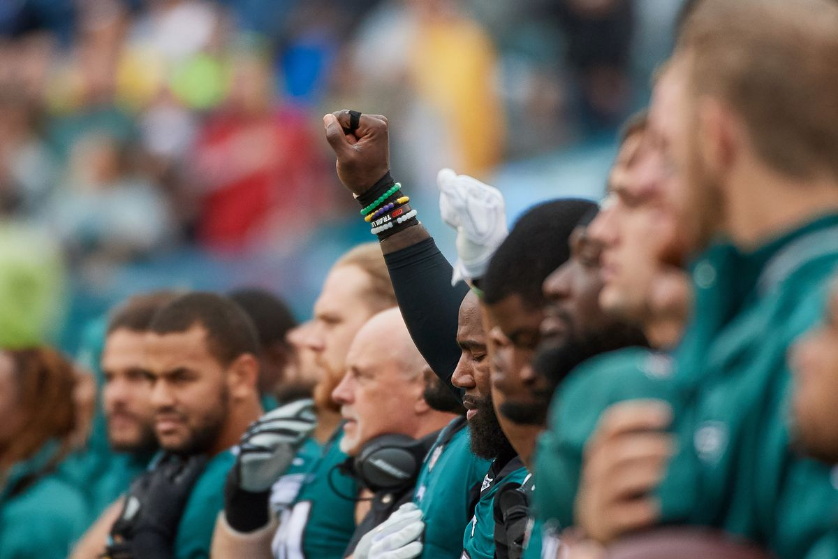 Philadelphia Eagles safety Malcolm Jenkins raises a fist during the national anthem on October 29, 2017. Jenkins continued his protest before a preseason game against the New England Patriots on August 16, 2018.