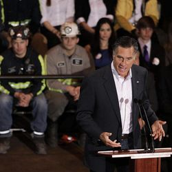 Republican presidential candidate, former Massachusetts Gov. Mitt Romney speaks at Consol Energy Research and Development Facility in South Park Township, Pa., Monday, April 23, 2012.