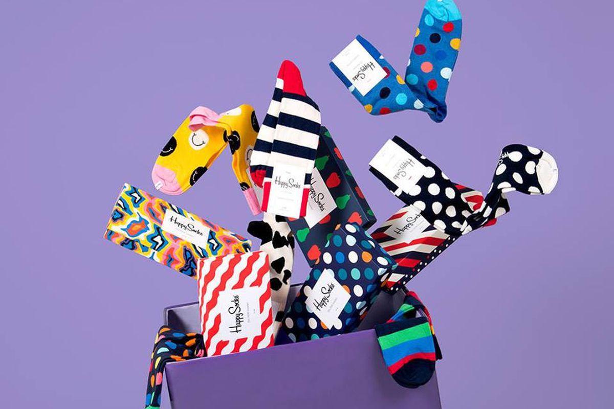 A box of colorful socks