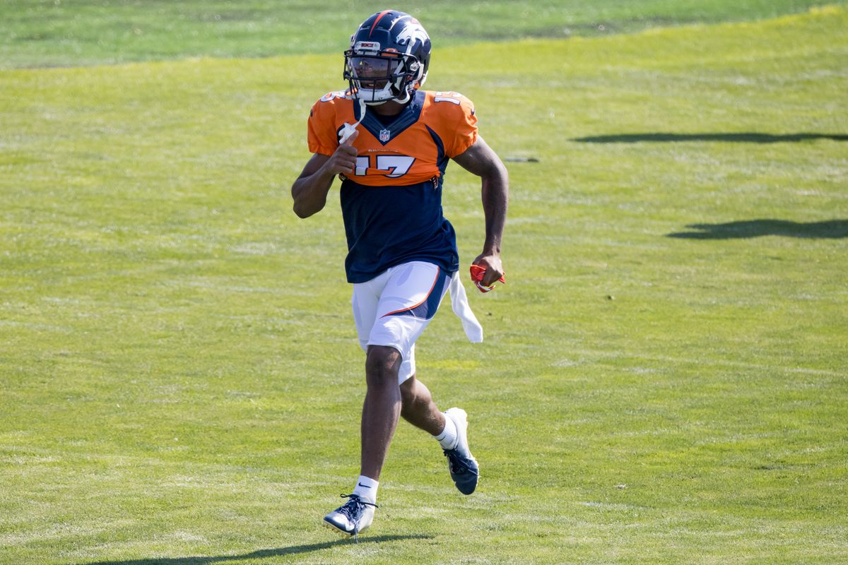 Wide receiver KJ Hamler #13 of the Denver Broncos warms up during a training session at UCHealth Training Center on August 17, 2020 in Englewood, Colorado.