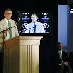 ESPN V.P. of Programming Dave Brown speaks at a press conference at BYU where BYU officials announced going independent in football and joining the WCC for other sports as well as their contract with ESPN Wednesday.
