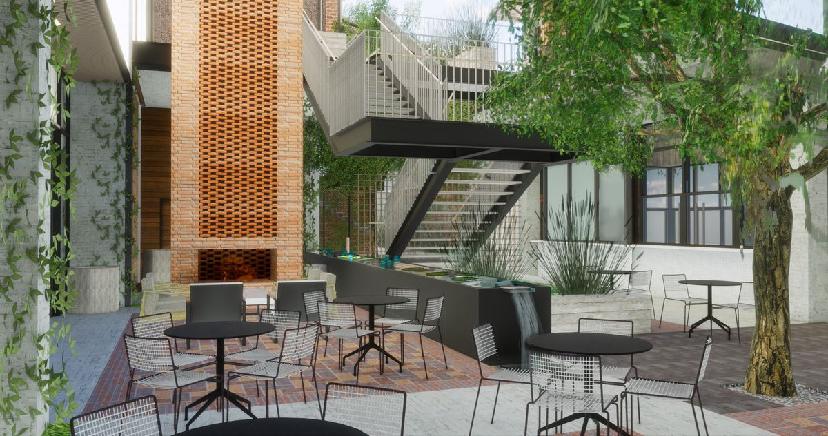 Rendering of Canopy by Hilton's courtyard