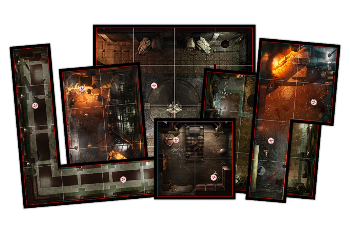 Tiles showing hallways and areas of the familiar clocktower environment from Resident Evil 3.